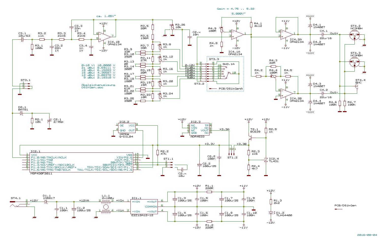 Ds1kgen Precision 1 Khz Audio Sine Wave Generator Accurate Circuit Schematic Diagram Description The